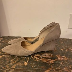 Pointed Gray Suede Wedges Franco Sarto